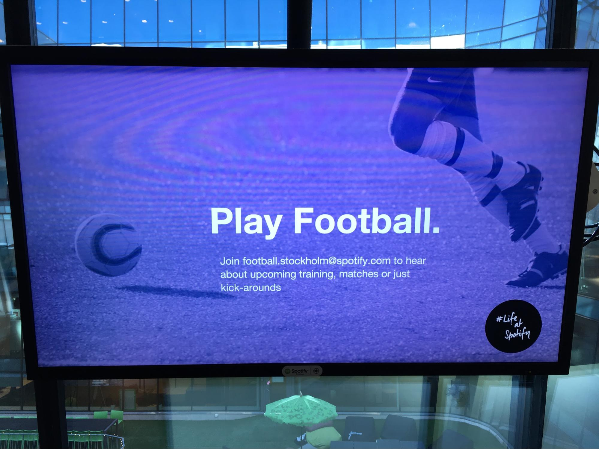 Corporate Digital Signage | Office Communication | Play Football Wallboard Display