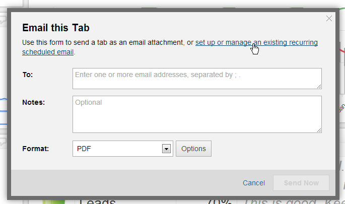 klipfolio - dashboard email scheduling step