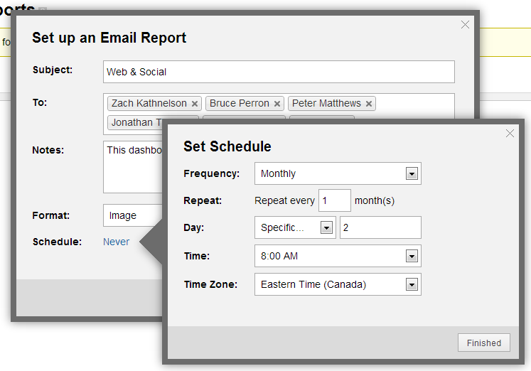 klipfolio - dashboard email scheduling step three
