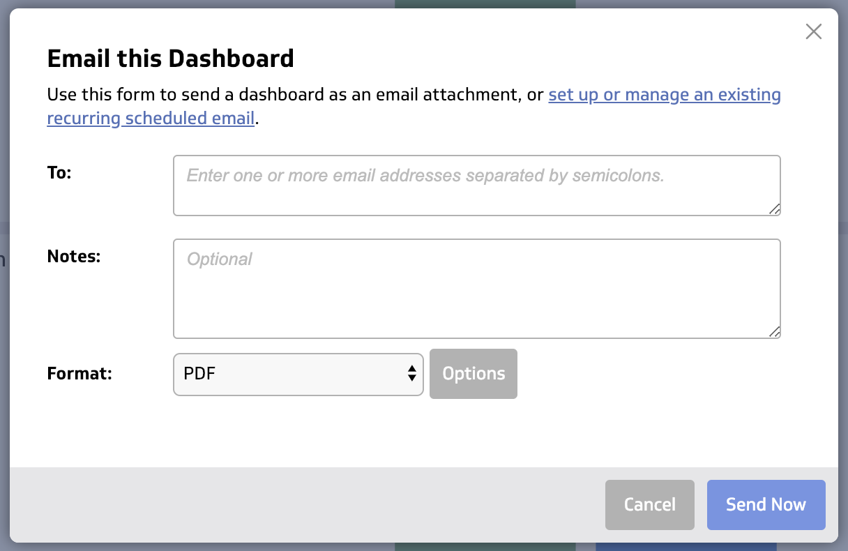 Dashboard email scheduling step - screen capture