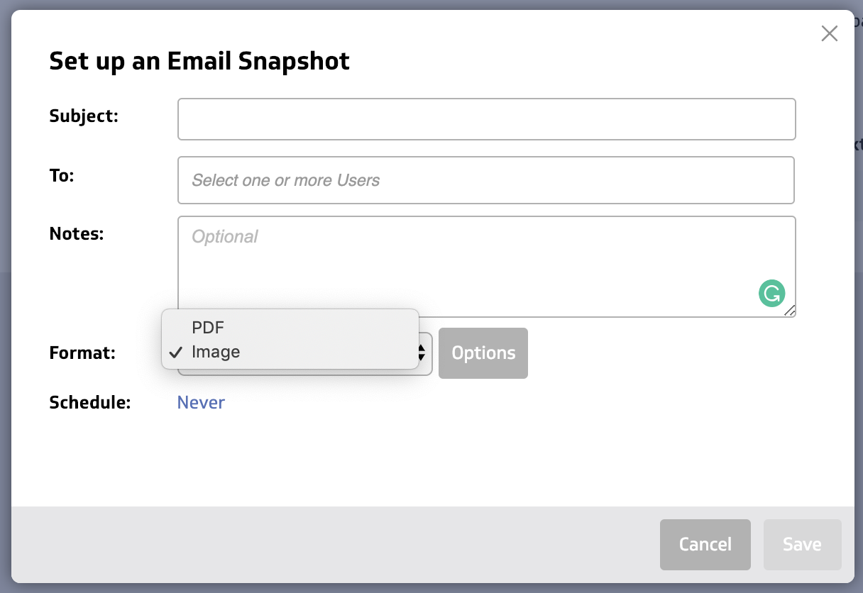 Dashboard email scheduling step: Sending to users screen capture