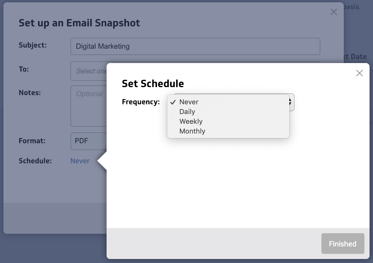 Dashboard email scheduling step: Setting schedule screen capture