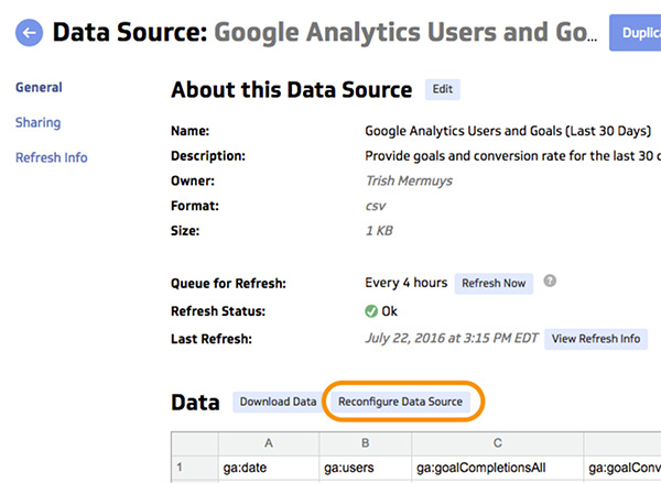 Date Range - Reconfigure Data Source