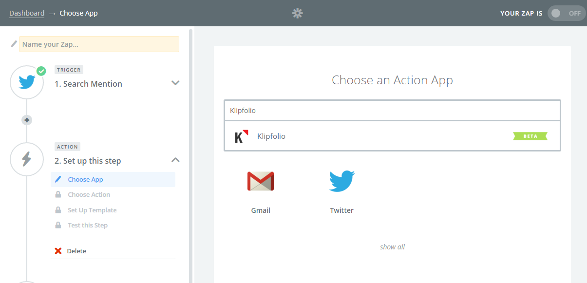 Building Dashboards With Zapier and Klipfolio | Choose a Klipfolio action