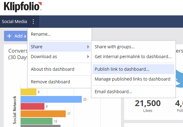 klipfolio - public dashboard step one