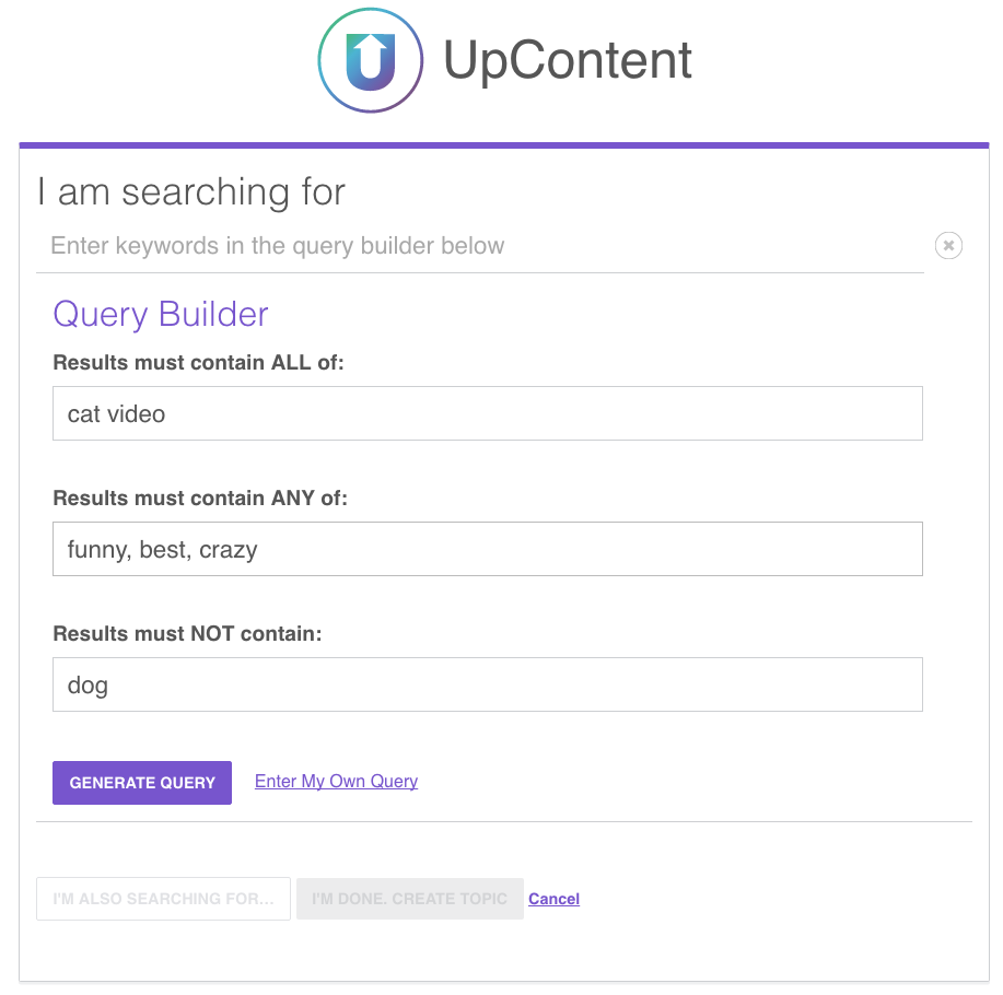 Using UpContent | Setting up your topic with UpContent