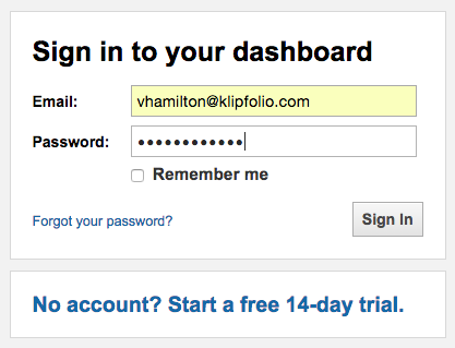 Sign in to your Klipfolio dashboard to start measuring metrics