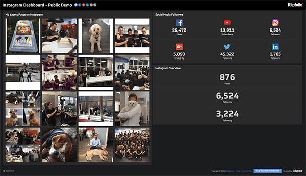 klipfolio - instagram dashboard
