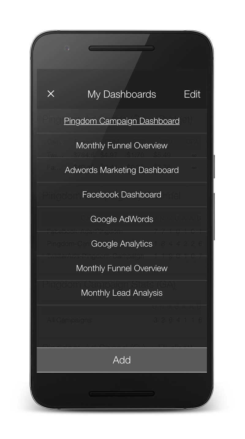 klipfolio - android dashboard