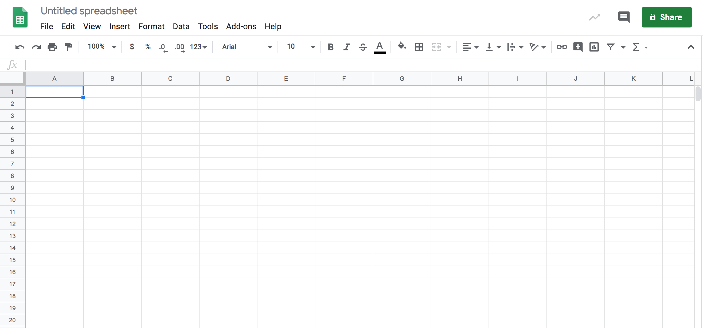 Google Sheets Screen Shot