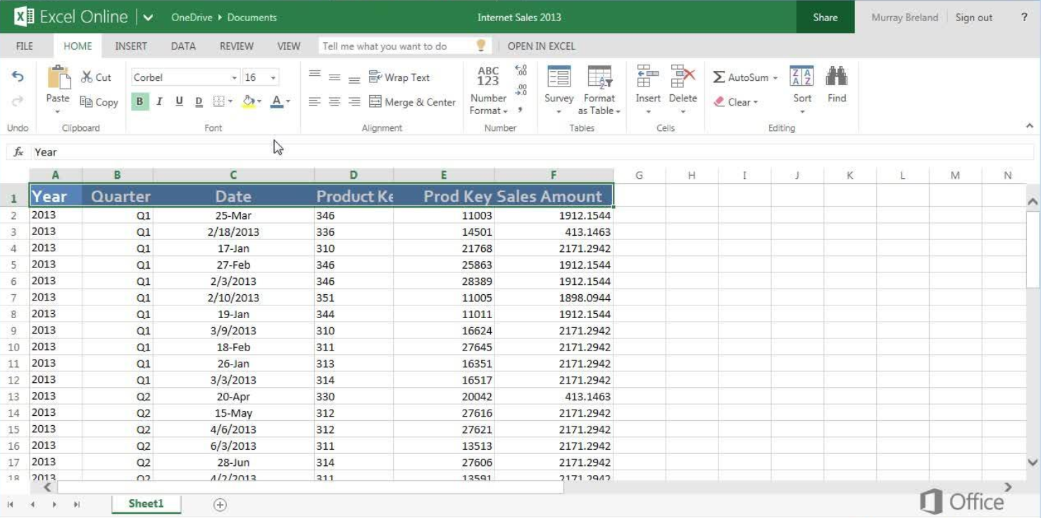 Microsoft Excel Screen Shot