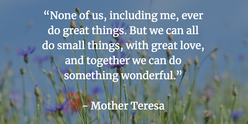 None of us, including me, ever do great things. But we can all do small things, with great love, and together we can do something wonderful. - Mother Teresa