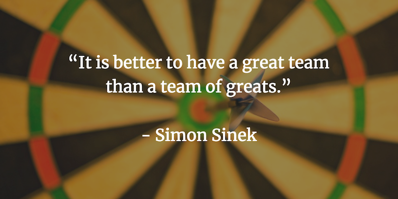 It is better to have a great team than a team of greats. - Simon Sinek