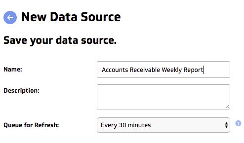 acounts receivable data into a dashboard | new data source
