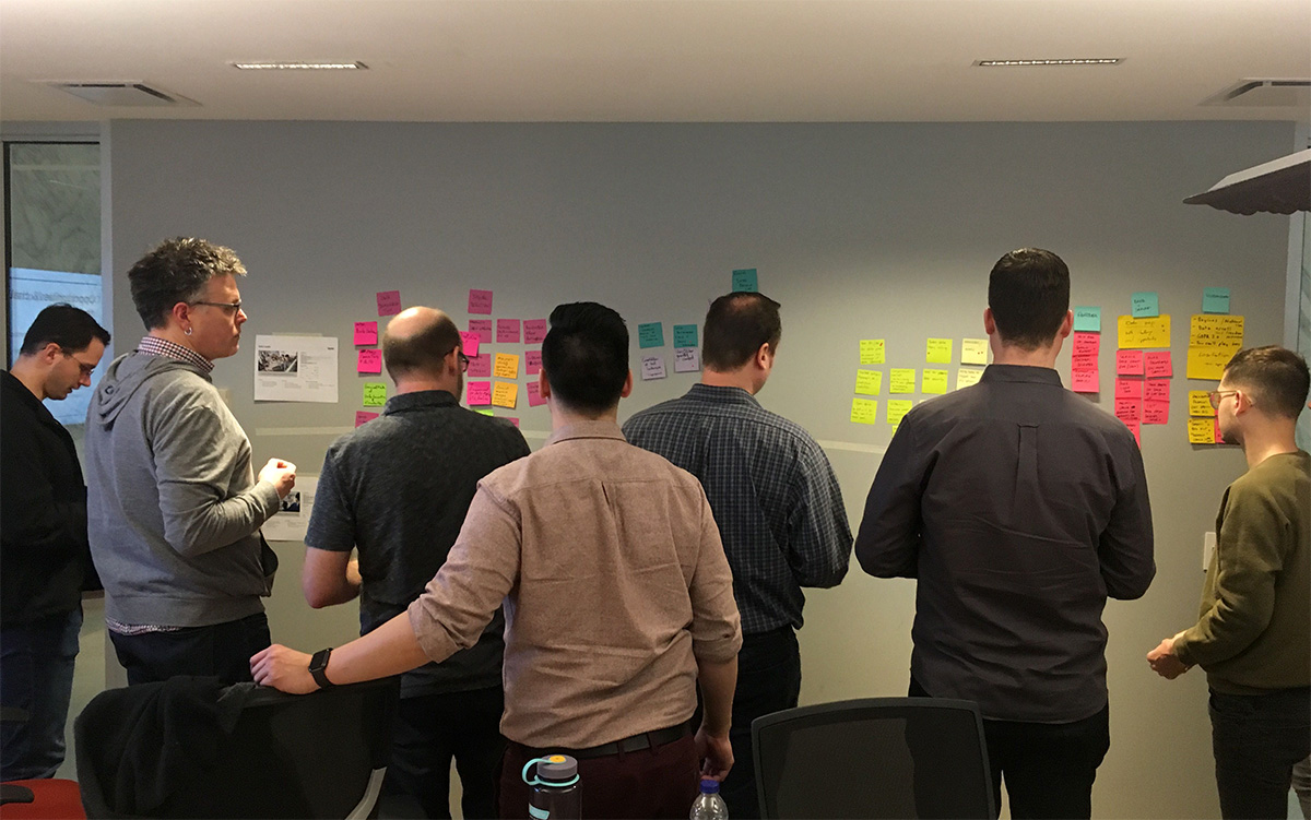 A team workshop - A group of people brainstorming in a meeting room