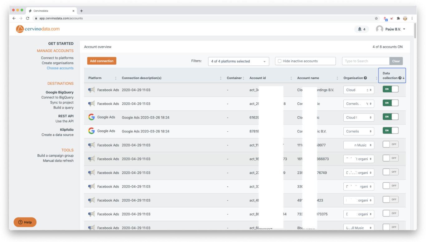 Example of Cervinodata Choose Accounts Interface - Numerous ad campaigns listed with contextual data