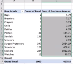 Example of a completed pivot table in Microsoft Excel