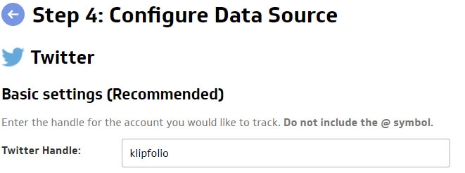 Use Klipfolio to Track Your Twitter Data | Step 4: Configure Data Source