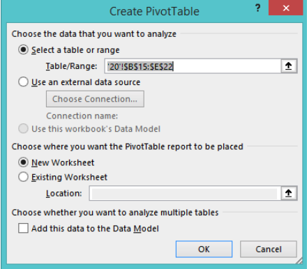 Pivot Table Set Up Dialogue