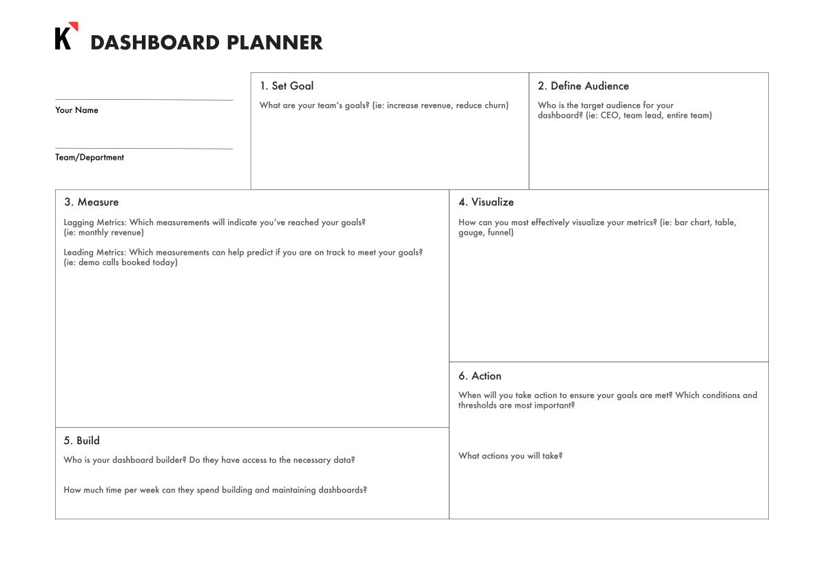 Print out the Dashboard Planner Worksheet