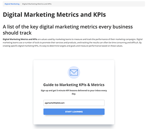 Drupal form digital marketing metrics and KPIs