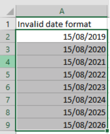 Table of dates in Microsoft Excel dd/mm/yyyy