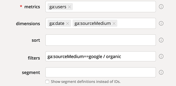 Google Analytics Query Explorer applied filter