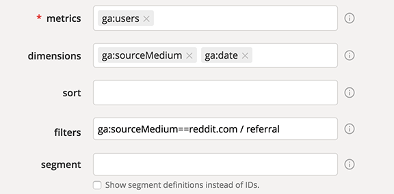 Google Analytics Query Explorer Reddit filter