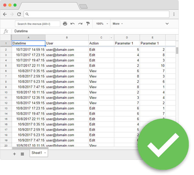 Google sheets best practices | database layout spreadsheet green circle