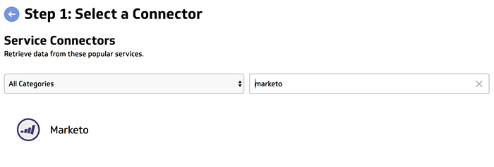 Klipfolio select a connector Marketo