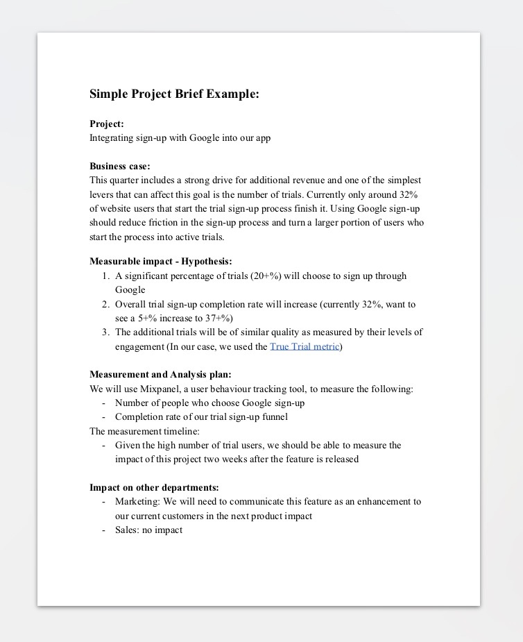 PDF Document - Sample Project Brief Download