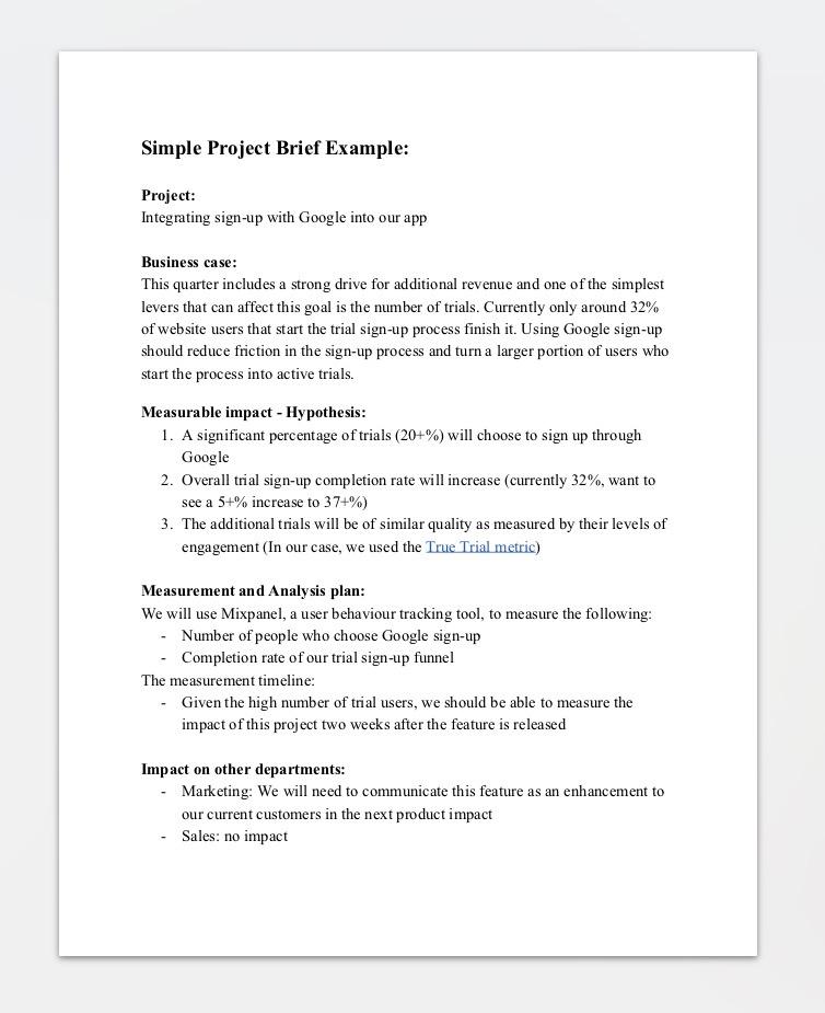 Marketing brief example hamle. Rsd7. Org.