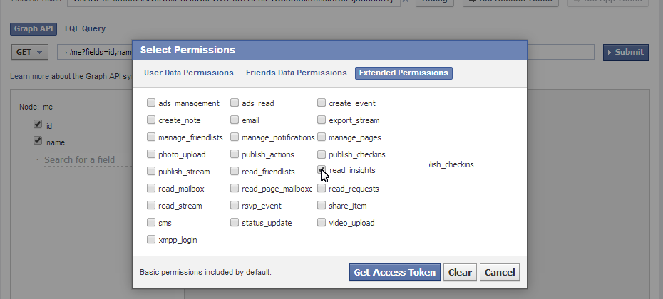 klipfolio - facebook graph api insights permissions screen