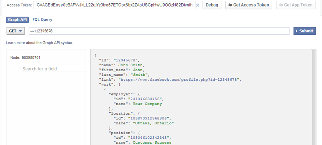 klipfolio - facebook graph api query