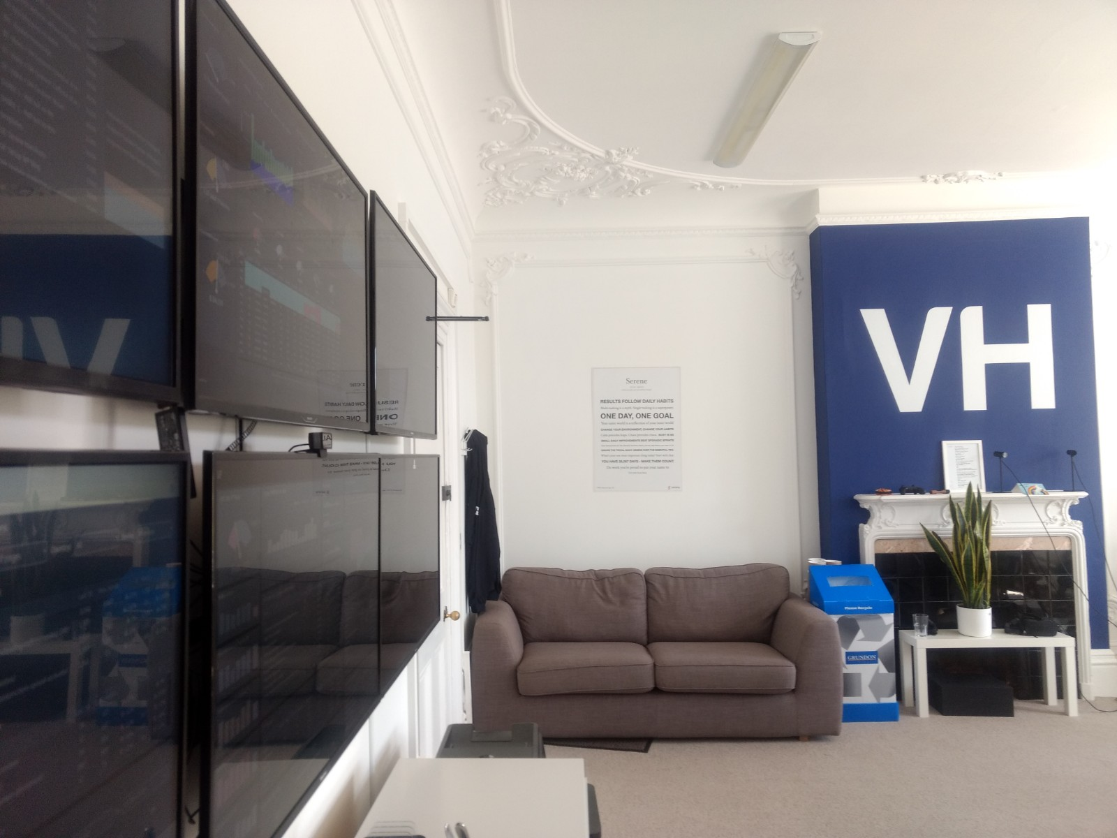 Office wallboard with couch