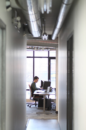 office hall with man working