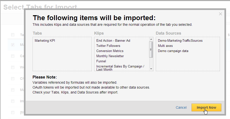 klipfolio - import data source