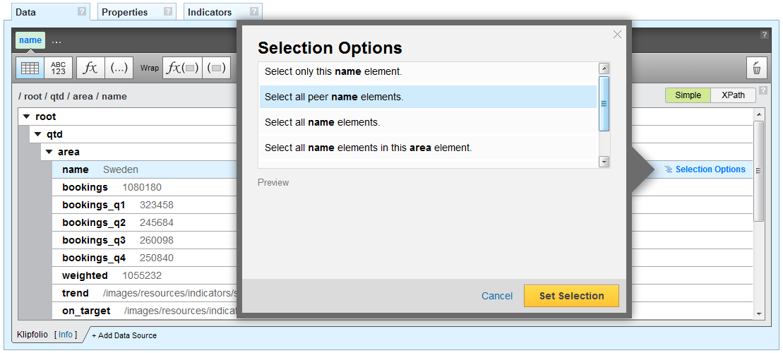 Klipfolio - custom XPath editing and selection