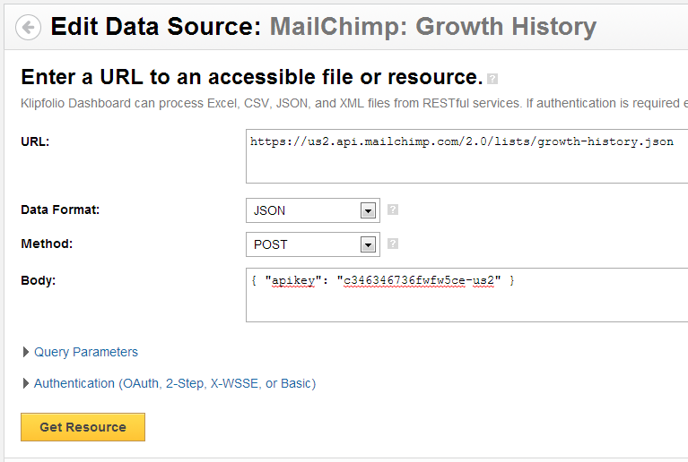 MailChimp Data Source: Format of the POST request in Klipfolio