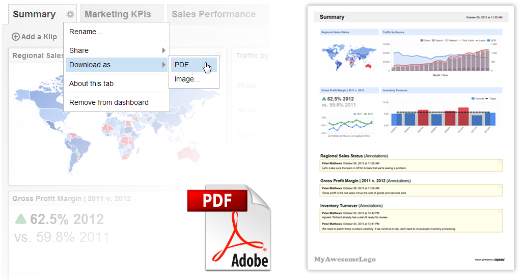 Klipfolio Dashboard | Download and distribute your dashboard as an image file or a PDF.